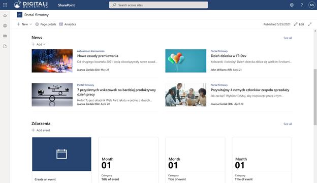 Przykładowy prosty portal zrealizowany ma platformie SharePoint
