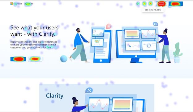 Heatmapa strony utworzona z wykorzystaniem Microsoft Clarity